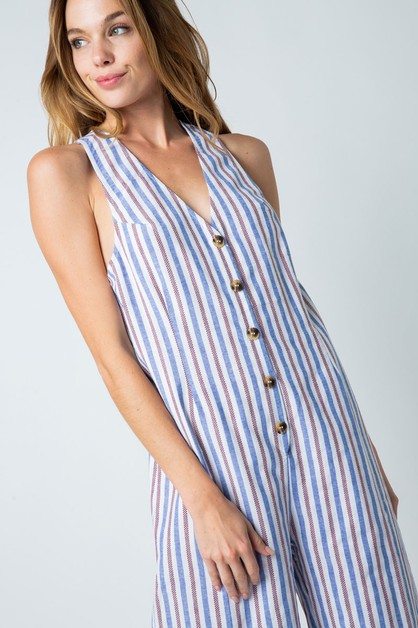 STRIPED BUTTON DOWN SHORT JUMPSUIT - orangeshine.com