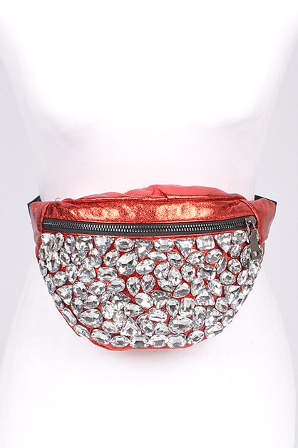 Crystal Iconic Metallic Fanny Bag - orangeshine.com