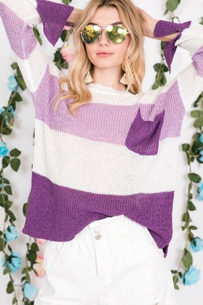 POCKET COLOR BLOCKED SWEATER  - orangeshine.com