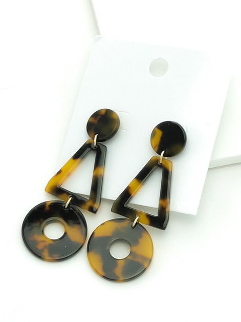 Geo Tortoise Dangle Earrings - orangeshine.com