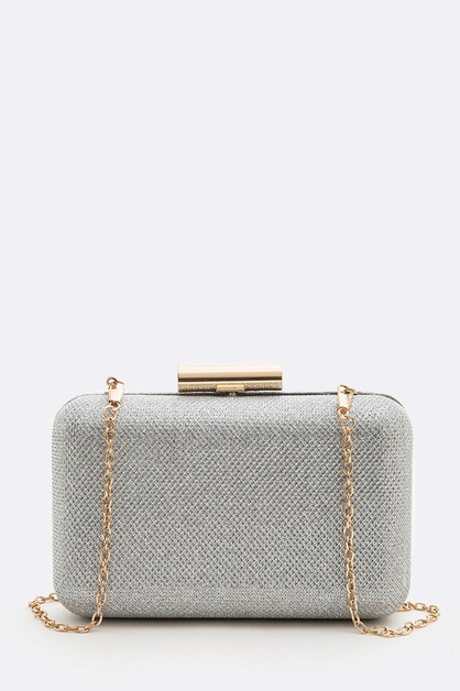 Metallic Mesh Textured Box Clutch - orangeshine.com