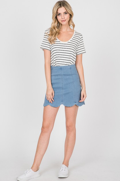 SCALLOP DENIM SKIRTS - orangeshine.com