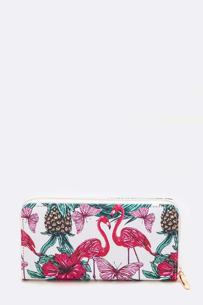 Flamingo Tropical Floral Print Fashi - orangeshine.com