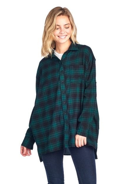 BOTTON DOWN OVERSIZED PLAID SHIRT - orangeshine.com