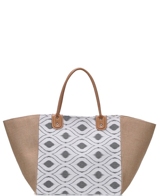 Straw Canvas Shopper Bag Women Circl - orangeshine.com