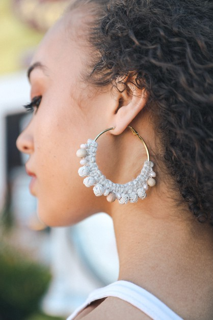 Natural Thread Braided Hoop Earrings - orangeshine.com