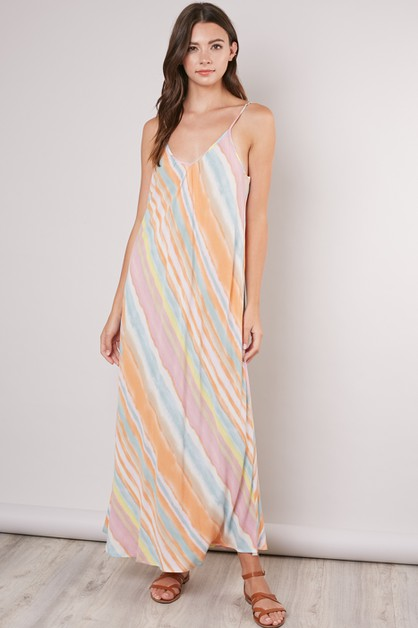 MULTI COLOR STRIPE DRESS - orangeshine.com