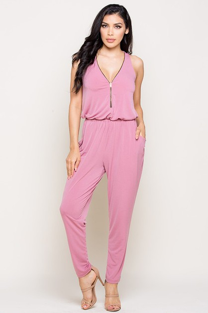 Sleeveless Zipper Front Jumpsuits - orangeshine.com
