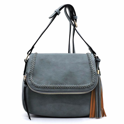 Whipstitched Flap Crossbody Bag - orangeshine.com
