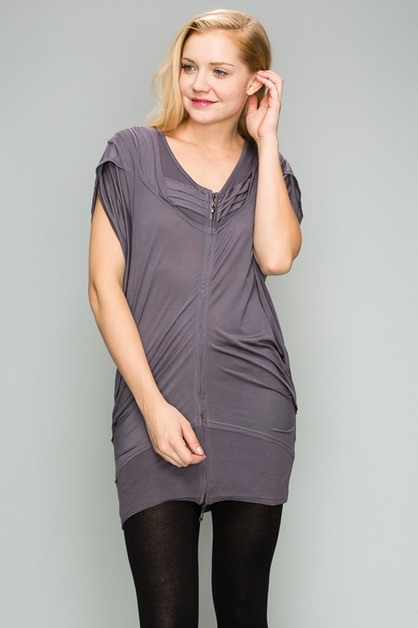 Knit Zipper Front Tunic Dress - orangeshine.com