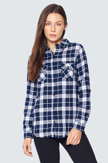 LONG SLEEVE CASUAL PLAID FLANNEL - orangeshine.com
