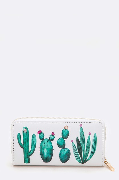 Cactus Print Fashion Wallet - orangeshine.com