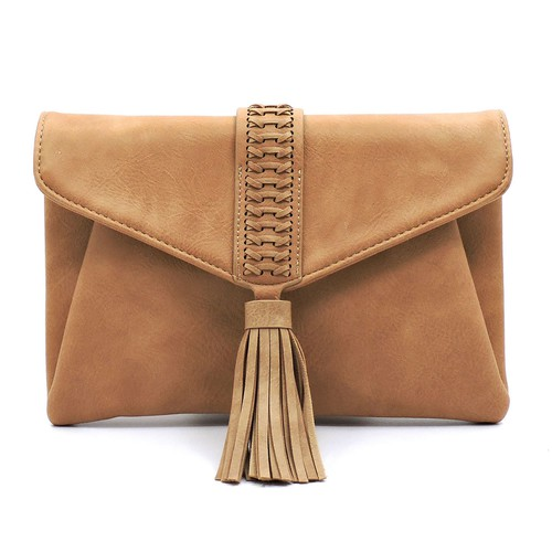 Braided Whipstitch Tassel  Clutch - orangeshine.com