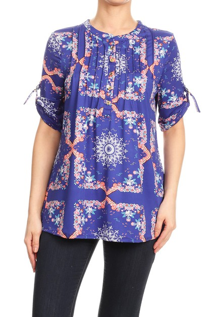 Paisley Missy Tops Button Down Shirt - orangeshine.com