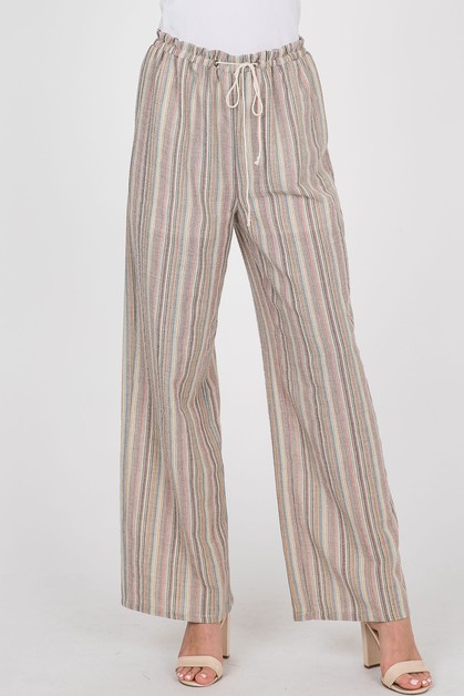 Striped High Waist Pants - orangeshine.com