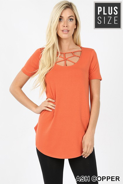 PLUS SHORT SLEEVE WEB DETAIL TOP - orangeshine.com
