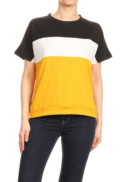 Thick Loose Fit Color Block Tops - orangeshine.com