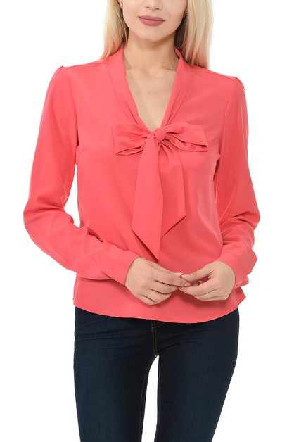 Woven Long Sleeve Solid Blouse With  - orangeshine.com