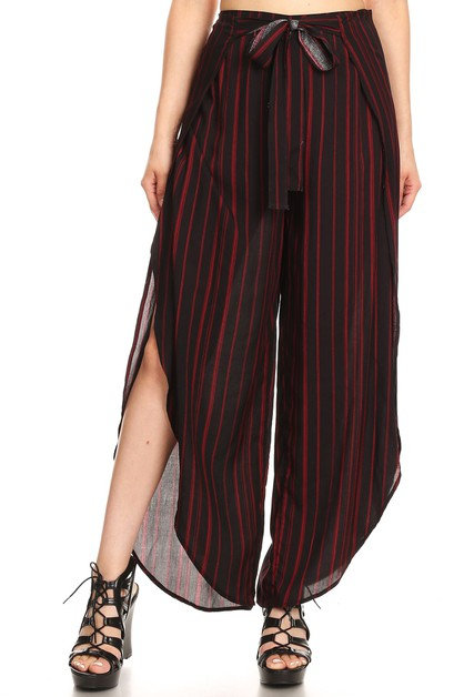 Strip Overlap Palazzo Wide Leg Pants - orangeshine.com