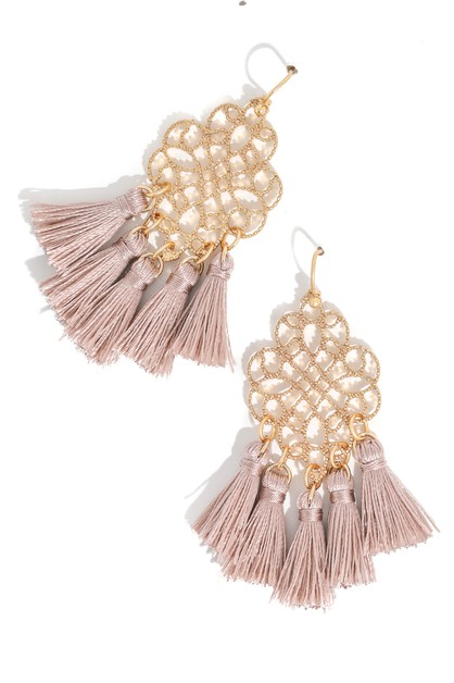 Multi Tassel Intricate Drop Earrings	 - orangeshine.com