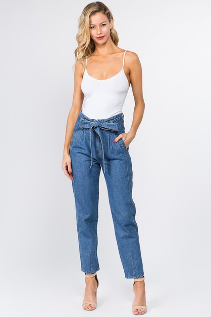 HIGH RISE MOM JEANS WITH WAIST TIE - orangeshine.com