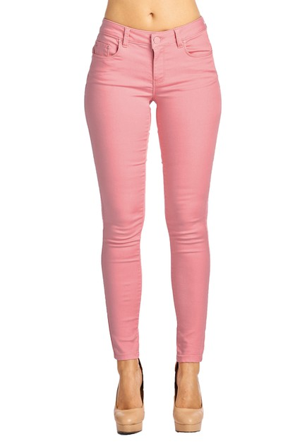 Pink Cotton Skinny Jean - Denim - orangeshine.com