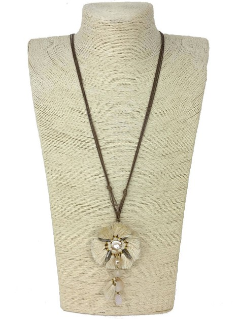 MOTHER OF PEARL FLOWER NECKLACE - orangeshine.com