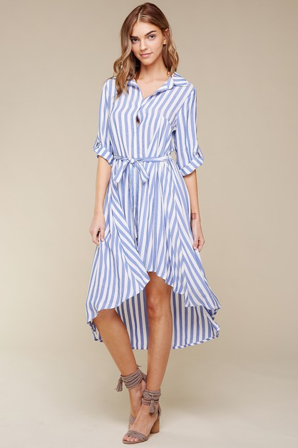 RAYON STRIPE HI-LOW BUTTON-DOWN  BEL - orangeshine.com