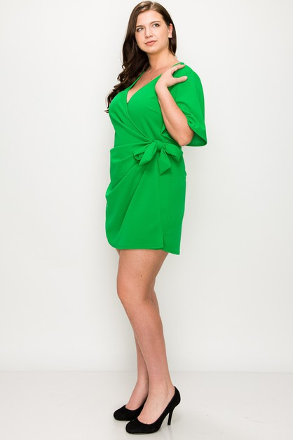 Surplice Bow Wrapped Romper - orangeshine.com