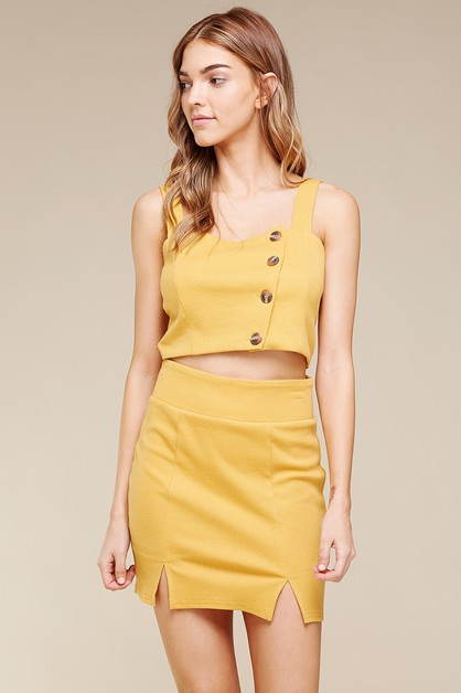 KNIT RIB MINI SKIRT WITH FRONT SLITS - orangeshine.com