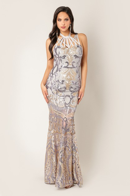 High Neck Halter Sequins Maxi Gown - orangeshine.com