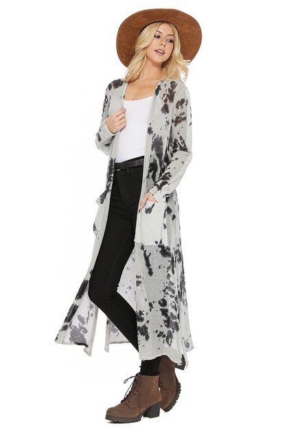 T PARTY WOMEN TIE DYE MESH CARDIGAN - orangeshine.com