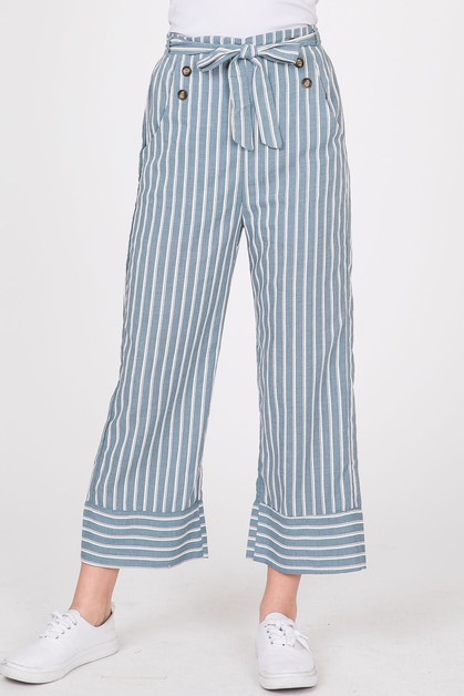 Stripe Button Down Waist Belt Pants - orangeshine.com