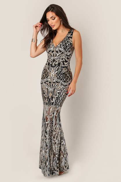 V Neck Sweep Sequins Mermaid Gown - orangeshine.com