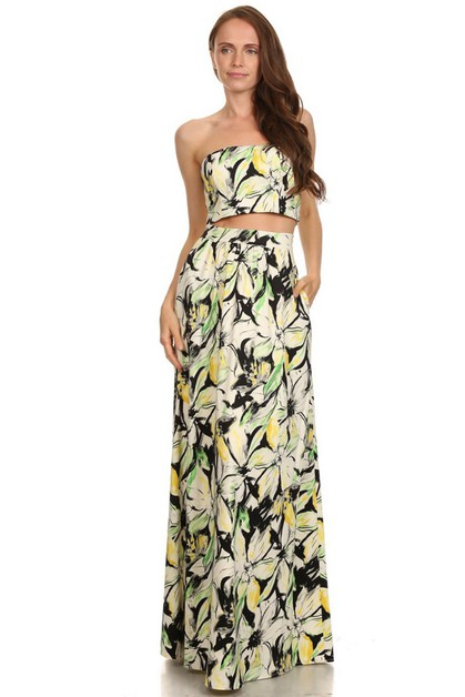 Two Pieces Floral Print Dress - orangeshine.com