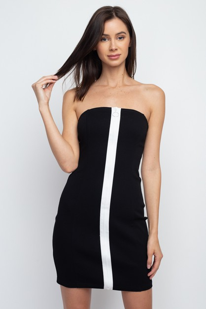 COLOR BLOCK ZIP FRONT TUBE DRESS  - orangeshine.com