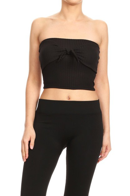 Crop Rib Knit Tube Tops Bow tie - orangeshine.com