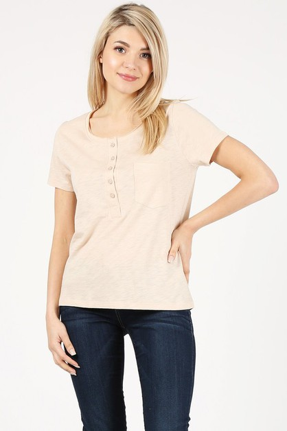BUTTON TRIM T-SHIRT - orangeshine.com