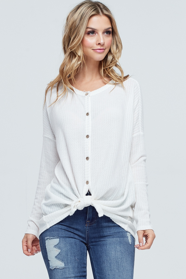 Front Self Tie Knot Button Down Top - orangeshine.com