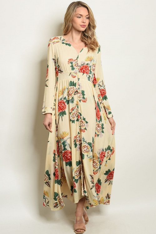 SHORT SLEEVE SMOCK WAIST MAXI DRESS - orangeshine.com