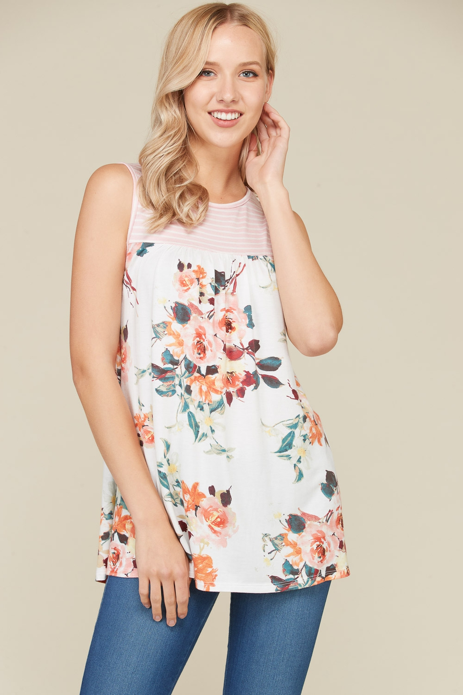 Floral Body Sleeveless Tunic - orangeshine.com