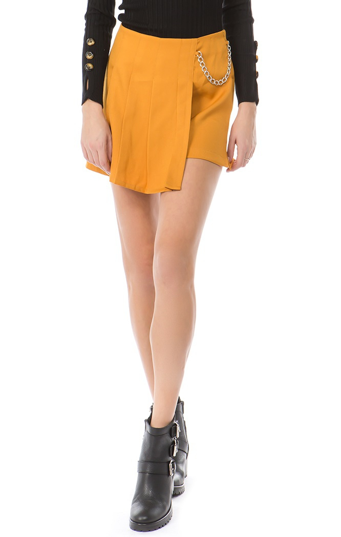 Wrap Around Pleated Mini Skort  - orangeshine.com