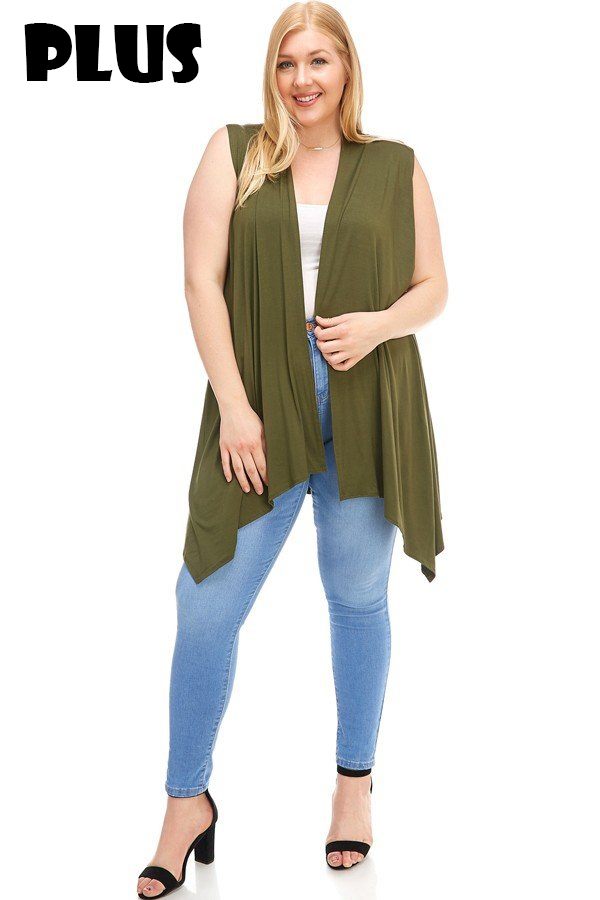 Sleeveless Plus Size Vest  - orangeshine.com