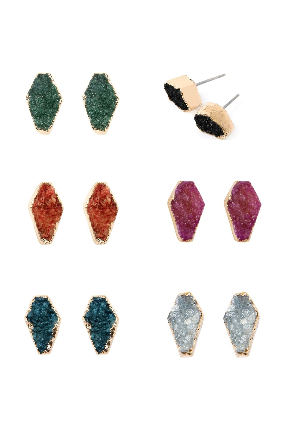 GEOMETRIC DRUZY STONE STUD EARRINGS - orangeshine.com