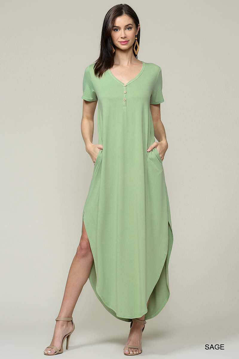 Short Sleeve Henley Maxi Dress - orangeshine.com