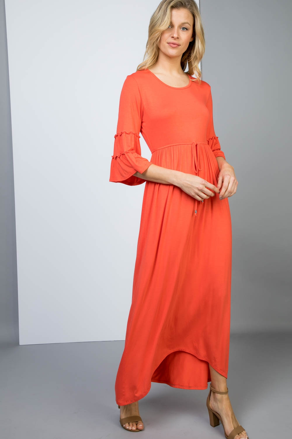Basic Maxi Dress with Ruffled Sleeve - orangeshine.com