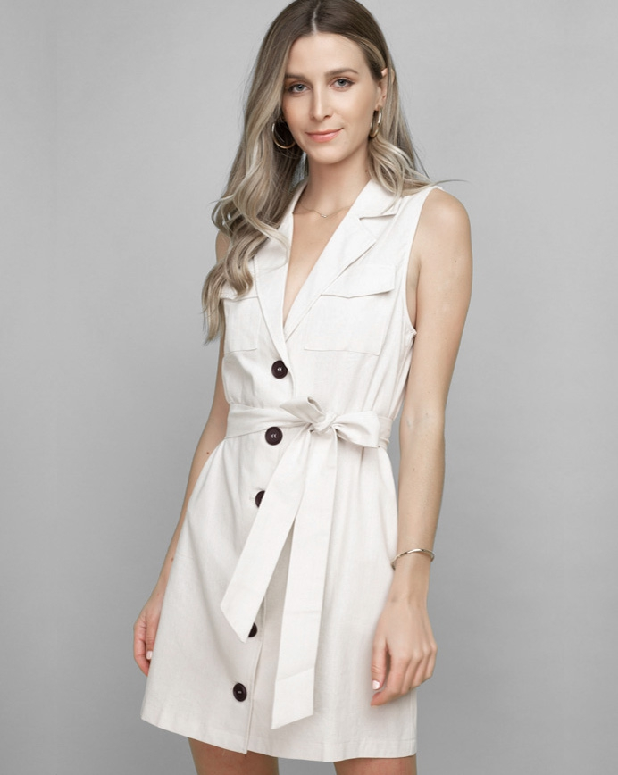 Sleeveless Linen Blazer Dress  - orangeshine.com