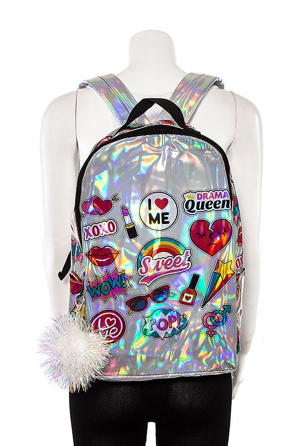 MIX STAMP HOLOGRAPIHC BACKPACK - orangeshine.com