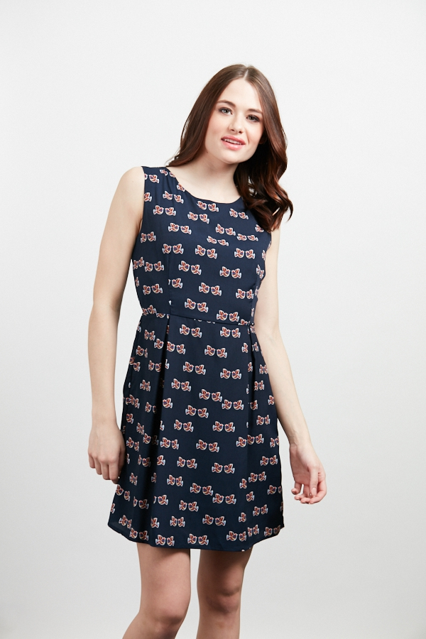 KISSING BIRDS PRINT A LINE DRESS - orangeshine.com