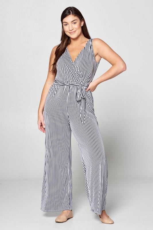 New Surplice Striped Jumpsuit - orangeshine.com